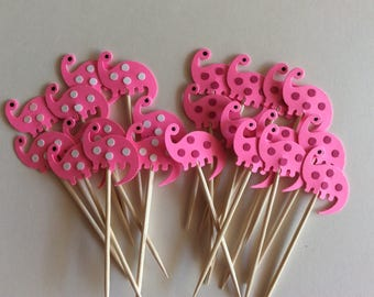 24 Pink Girl Dinosaur Party Picks - Cupcake Toppers - Toothpicks - Food Picks