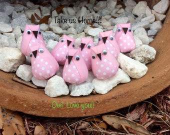 8 mini plush owls plush owl favors owl baby shower  pink owl - Lot 2