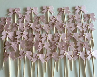 24 Bow cupcake topper Bling Glitter Pink and gold Paty pick Baby Shower
