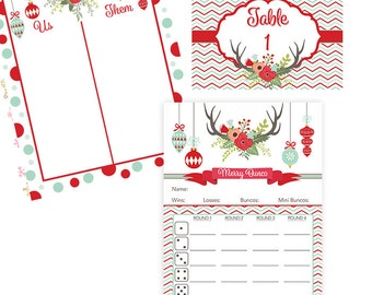 Christmas  Bunco Score Card with Deer Antlers, Christmas Ornaments and Winter Flowers- Table Markers- Tally Sheet-Instant Download
