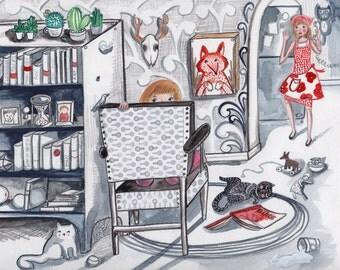 Never A Dull Moment- Artwork by Christina Rowe - 8x10 Trick-or-Treat Art Print - Mangoseed