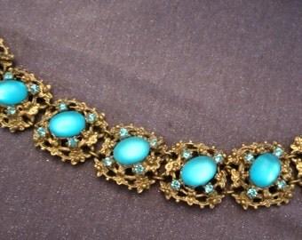 vintage bracelet, moonstone bracelet, moonstone jewelry, chunky bracelet, chunky jewelry, blue stone bracelet, collectible bracelet, retro