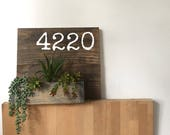 wood address planter box