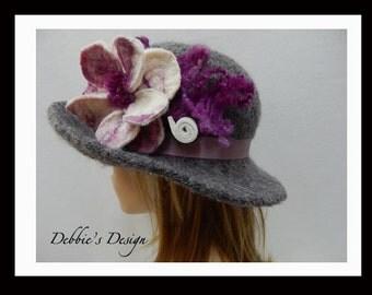 Women's Handmade Cloche Hat-196 Women's Felted Cloche Hat, Accessories, Hat, Handmade, Fall-Winter, cloche felt hat, Downton abbey