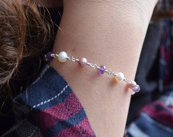 Amethyst Bracelet, Sterling Silver, Real Purple Gemstones, Freshwater Pearls, Gift for Girls, Flower Charm, February Birthstone Jewelry