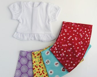Doll Clothing, 18 Inch Doll Clothes, Set of Four Doll Skirts and Ruffle Shirt, Reversible Skirt, Handmade, Ready to Ship