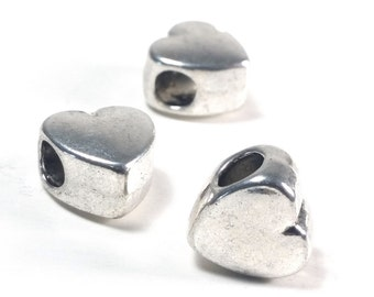 Large Heart Beads, Extra Large Hole, Antique Silver Pewter Valentine Beads, 6x11mm, 4.5mm Hole, Lead Free, Lot Size 4 to 20, #1378 BH