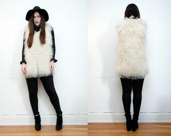 Vintage Real Mongolian Lamb Fur Real Fur Tibetan Suede Leather Jacket Vest Gilet Waistcoat 70's RARE