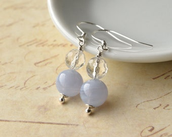 Wedding Earrings, Blue Lace Agate, Crystal Earrings, Sterling Silver, Clear Quartz, Bridal Jewellery UK