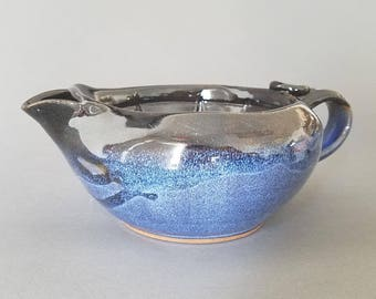 """Big Daddy Shaving Scuttle Bowl in """"Twilight"""" Cobalt Blue and Gloss Black"""