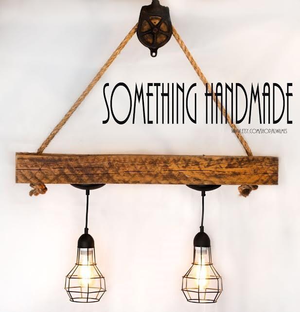 Rustic Light Industrial Chandelier Rope Pulley Yoke Wood Metal: Reclaimed Barn Beam Industrial Light Rustic Light 1800s Barn