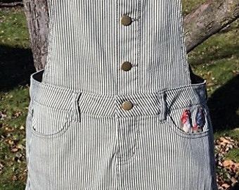 Farm Girl Apron with repurposed bib overalls