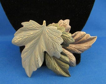 Brass, Copper, Pewter Leaf Brooch