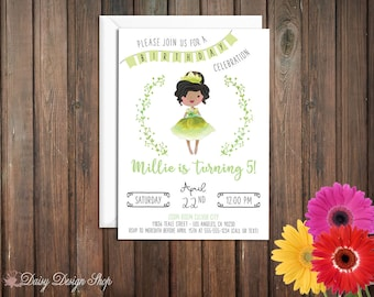 Birthday Party Invitations - Princess Tiana and Laurel in Watercolor Style - Princess and the Frog - Set of 20 with Envelopes