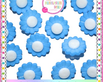 15mm BLUE & WHITE FLOWER Kawaii Button, Sewing Notions, Buttons, Shank Buttons, Whimsical Buttons, The Bubblegum Bead Co.