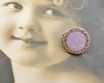 Tiniest antique French enamel lace pin in lilac with gold grains, doll brooch