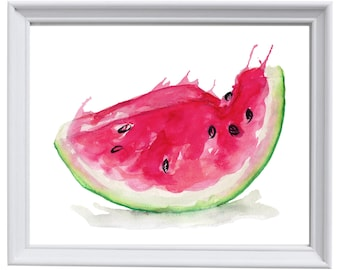 Framed watercolour print of a slice of Watermelon