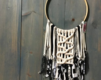 Black and Cream Whimsical Fabric Fringe Wall Hanging on Vintage Embroidery Hoop
