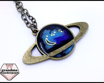 Handmade Galaxy Necklace, Saturn Necklace, Gold Planet, Galaxy and Stars