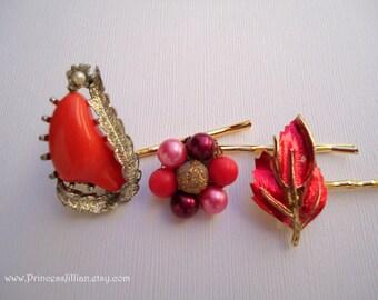 Vintage earrings hair bobbies - Red pink purple coral colorful beaded pearl cluster enamel leaf girl embellish decorative hair accessories