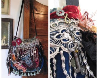 Fringed Gypsy Bag, handmade bohemian slouchy purse, layered ruffled laces, burgundy velvet unique OOAK embellished beads buttons