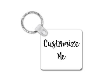 Square Key Chain, Custom Keychain, Personalized Keychain, Double Sided Keychain, Gifts for Her, Plastic Keychain, Custom Text Keychain