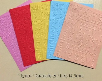 EMBOSSED CARDSTOCK 41/4 x 51/2 inches 5 pack Happy Birthday 1