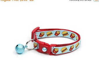 ON SALE Cheeseburger Cat Collar - Burgers and Fries on Blue - Small Cat / Kitten Size or Large Size