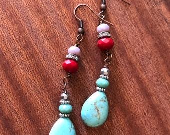 Turquoise Teardrop Dangle Earrings