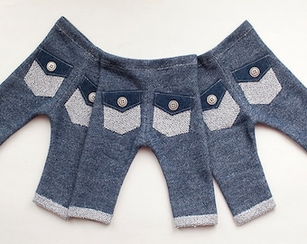 newborn boy PANTS with pockets (Tony) - photography prop - blue, navy, denim, jeans, pockets