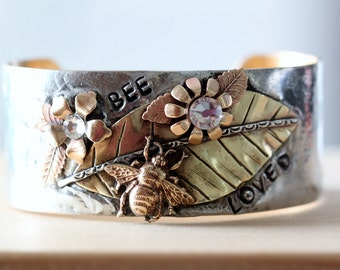 BEE LOVED, Cuff Bracelet, hand forged, boho jewelry, vintage inspired jewelry, rustic country chic Cuff bracelet