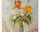 50% off Loved by teh Sun 18 x 24 Flowers Original Oil Painting Yellow Orange Sunny Vase Still Life Palette Knife  by Marchella