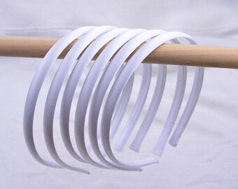 headbands, satin headbands, hair hoop, hair bands,  Satin wrapped headband, Silk covered plastic headband, Wholesale headbands White 10mm