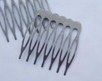 Combs, hair combs, metal combs, 20pcs 7teeth Silver Gray Metal Hair Combs (36x38mm) jewelry making combs