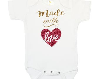 Made With Love Bodysuit - Gold Glitter Bodysuit - Just Born Baby - Baby Shower Gift - Sparkle Baby Gold Glitter Metallic Bodysuit