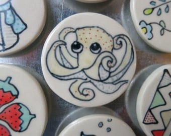 Octopus Magnet Handmade Ceramic Refrigerator Magnet Octopus Illustrated Pottery