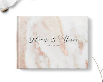 Guest sign in book, Landscape or Portrait, Wedding guest book, Blush Pink Marble gb0106