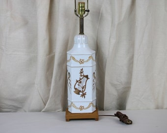 Porcelain Lamp Old World Musical Instrument String Guitar White Tan Wood Base Vintage Table Lamp