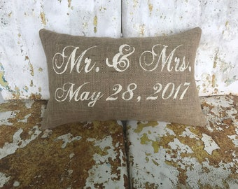 Personalized Mr. and Mrs. Wedding Anniversary Date Burlap Decorative Throw Pillow Custom Color Available Wedding Anniversary Gift Home Decor