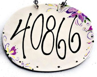 Address Plaque - Home Address Sign - Ceramic Address Sign - House Numbers - New Home Address  - Number Plaque - House Pottery Numbers