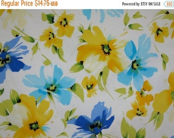 ON SALE Blue and Yellow on White Floral Print Stretch Cotton Sateen Fabric--One Yard
