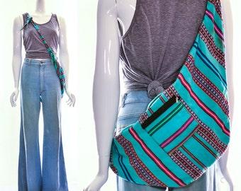 Vintage bright woven peruvian wool alpaca side sling messenger bag unixe striped bohemian bag fannypack crossbody bag