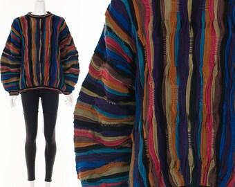 Dark RAINBOW Coogi Sweater Cosby Sweater Notorious BIG Sweater Avant Garde Futuristc Jumper Medium Large