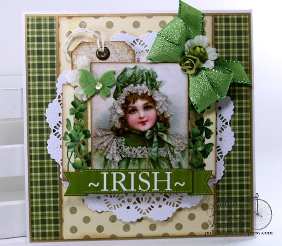 Irish Lass Greeting Card Holiday Home Decor Polly's Paper