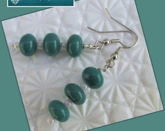 Teal Blue White Pearl Dangle Earrings Hypoallergenic Nickelfree Dainty Earrings Teal Jewelry Pearl Earrings Matching Necklace Available