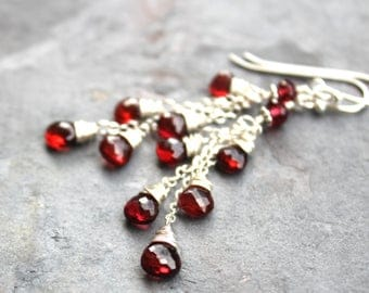 Garnet Earrings Cascade Cluster Earrings, Sterling Silver Red Gemstone Earrings