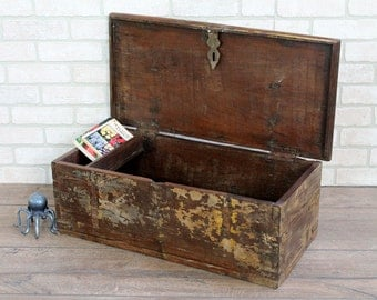 Vintage Trunk Reclaimed Indian Hope Chest Retail Display Distressed Wood Box Keepsake Box Boho Interior