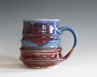 Pottery Mug, 17 oz, unique coffee mug, handmade cup, handthrown mug, stoneware mug, wheel thrown pottery mug, ceramics and pottery