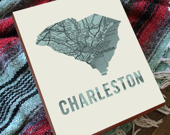 Charleston SC Map - Charleston Art - Charleston SC Art - Charleston South Carolina - Wood Block Wall Art Print