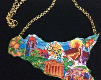 Sicilian Map Pendant Jewelry Necklace Sicilia Sicily Island New